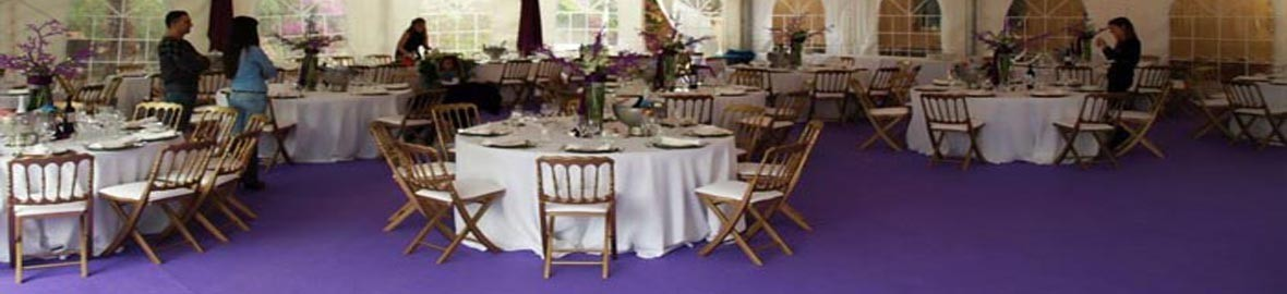 Tables for events in polypropylene, polycarbonate and wood